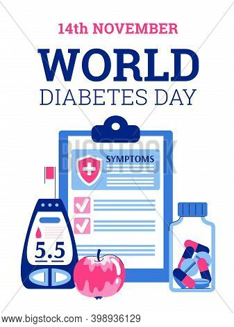 World Diabetes Day Concept. Checking Sugar Level In Blood, Control Insulin, Awareness For Diet, Life