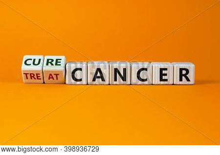 Cure Or Treat Cancer Symbol. Turned A Cube And Changes Words 'treat Cancer' To 'cure Cancer'. Beauti