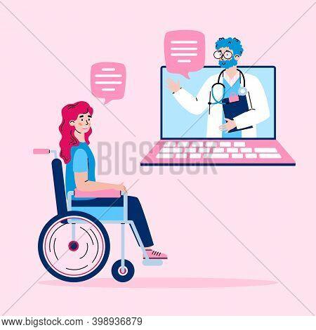 Online Internet Medical Or Psychological Support Banner With Doctor Remotely Advising Disabled Handi