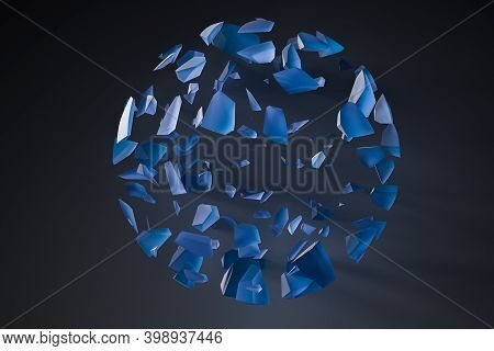The Broken Pieces Of The Crystal Ball, 3D Rendering.