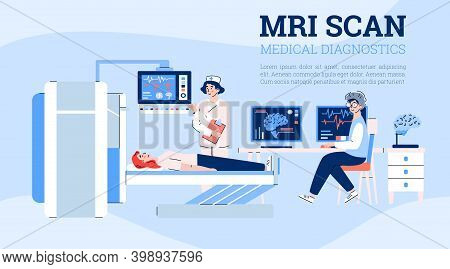 Mri Scan Medial Diagnostic Method Banner With Cartoon Characters Of Doctors And Patient, Flat Cartoo