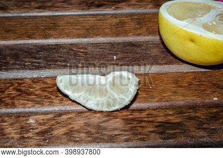Thai Fruit Pomelo On Table Wood. Pomelo Fruit