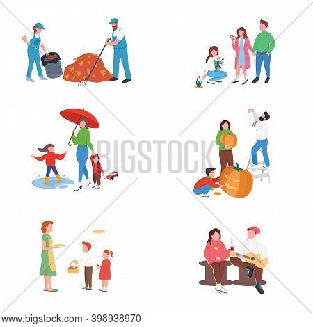 City Autumn People Flat Color Vector Faceless Character Set. Couple With Guitar, Drink. Rest, Recrea