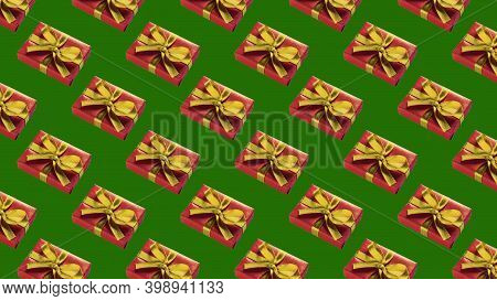 Background Of Many Red Gift Boxes On Green