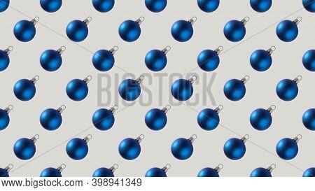 Background Of Many Blue Christmas Balls On White