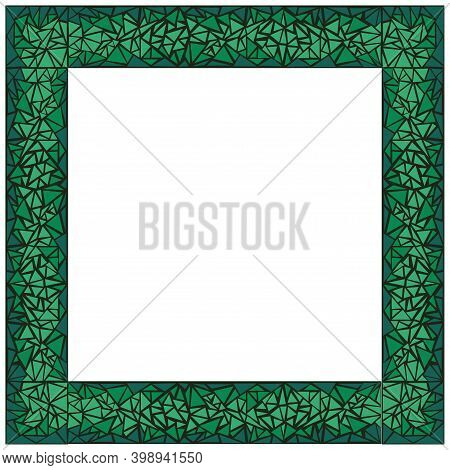 Malachite Green Mosaic Square Frame. Isolated Vector Illustration On White Background.