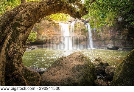 Deep Forest Beautiful Waterfall Haew Suwat,  Waterfall Kao Yai National Park World Heritage At Thail