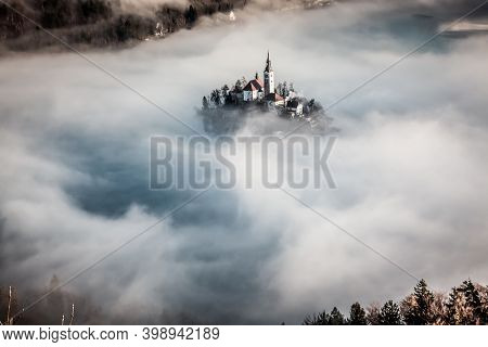 amazing sunrise at lake Bled from Ojstrica viewpoint, Slovenia, Europe - travel background