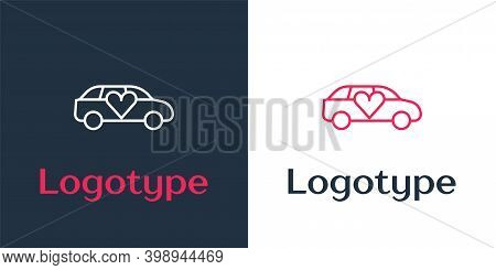 Logotype Line Luxury Limousine Car Icon Isolated On White Background. For World Premiere Celebrities
