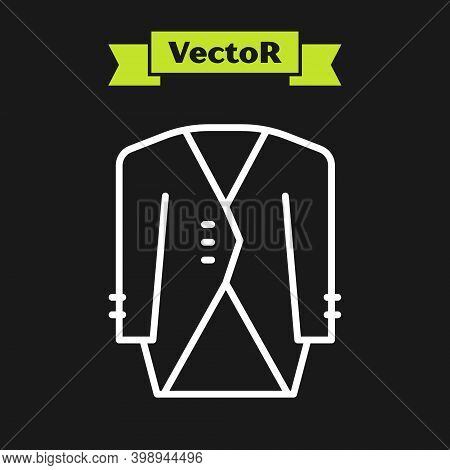 White Line Suit Icon Isolated On Black Background. Tuxedo. Wedding Suits With Necktie. Vector