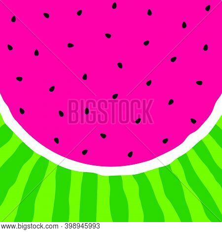 Watermelon Background. Pink Pulp, Black Seeds And Green Rind. Watermelon Slice. Vector Illustration.