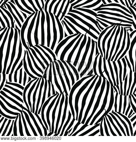 Whole Watermelons Seamless Pattern. Striped Rind. Black And White Vector Illustration.