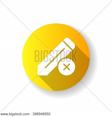 Edit Yellow Flat Design Long Shadow Glyph Icon. Editing Process Of Huge Text Document. Reducing Mist