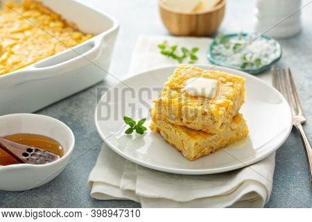 Slices Of Cheesy Cornbread Freshly Bakedserved With Butter And Honey, Southern Food