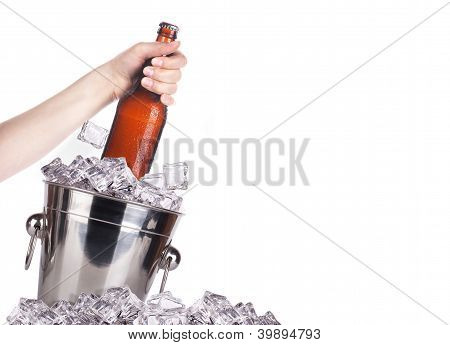 Frosty Beer With Ice Bucket And Hand