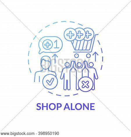 Shopping Alone Concept Icon. Financial Advantage Idea Thin Line Illustration. Shopping With Friends