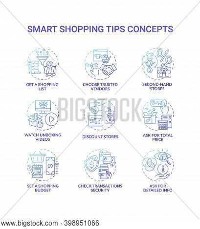 Smart Shopping Tips Concept Icons Set. Informed Customer Advices Idea Thin Line Rgb Color Illustrati