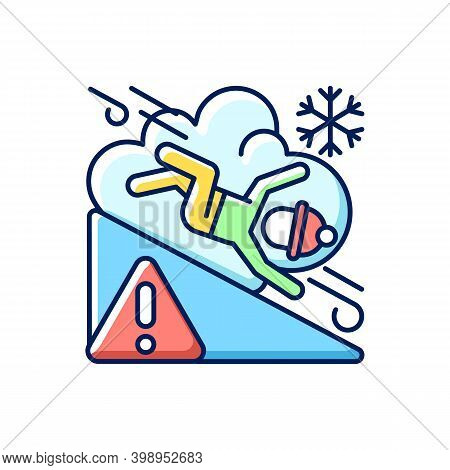 Avalanche Warning Sign Rgb Color Icon. Dangerous Snowy Mountain Areas. Seasonal Skiing Accidents. Pr