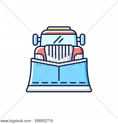 Snow Blades For Trucks Rgb Color Icon. Snow Plow Winter Service. Cleaning Streets From Winter Weathe