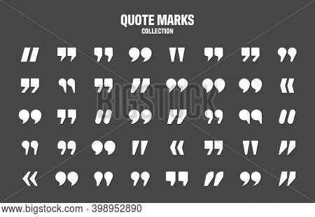 Quotation Marks Vector Collection. White Quotes Icon. Speech Mark Symbol.