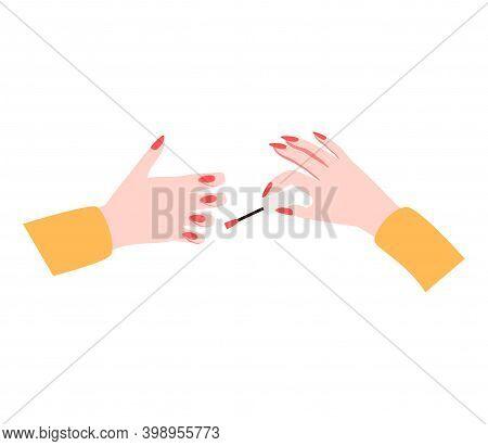 Female Manicured Hands. Lady Painting, Polishing Nails. Nail Brush, Nail Polish, Nail File. Spa Trea