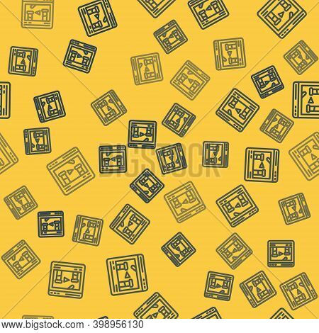 Blue Line Chemical Experiment Online Icon Isolated Seamless Pattern On Yellow Background. Scientific