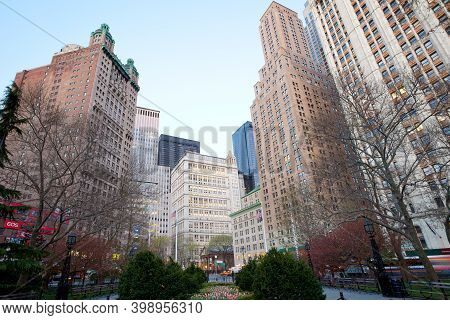 Manhattan, New York City, United States - April 22, 2011: Skyline Of Downtown Buildings From City Ha