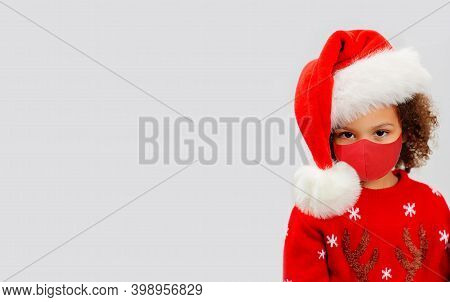 African American Cute Baby In A Christmas Themed Suit On White Background