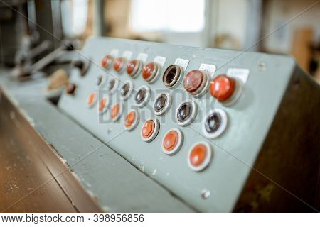 Control Panel Of An Old Woodworking Machine At The Joinery