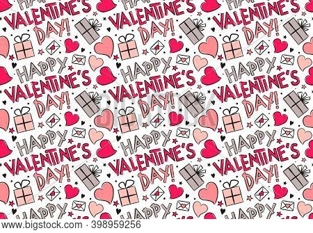 Happy Valentine's Day Background. Seamless Pattern Of Hand Drawn Hearts, Gifts And Stars. Template O