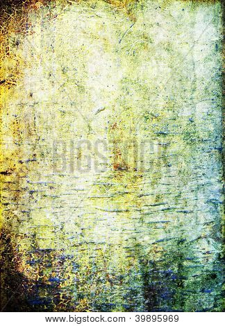 Old ragged wall: Abstract textured background: blue brown and green patterns on yellow backdrop. For art texture grunge design and vintage paper / border frame poster