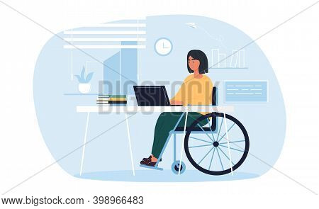 Young Pretty Disabled Woman In Wheelchair Working On Laptop Computer At Home Or Office. Handicapped