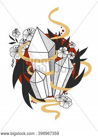 Hand Drawn Crystals Vector Illustration. Stars, Constellations,  Crystals. Hand Drawn Astrology Symb