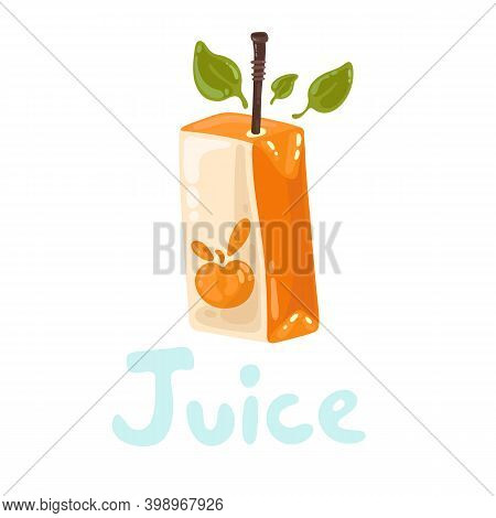 Cartoon Cardboard Package For Natural Juice Concept. Juice Pack With Organic Fruits. Brown Straw, Pe