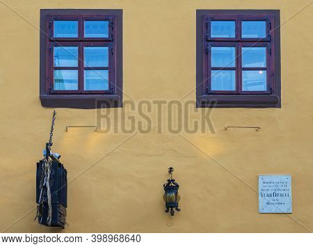 Sighisoara, Transylvania, Romania-july 9, 2020: The Facade Of The House Where He Lived Between 1431-