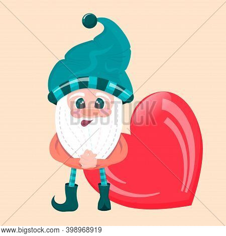 A Dwarf With A Hat And A Heart Is Isolated. Vector Illustration For Valentines Day. A Magical Creatu