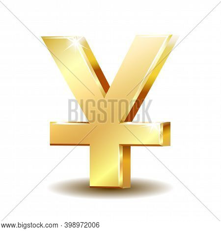 Shiny Golden Yuan Currency Symbol Isolated On White.