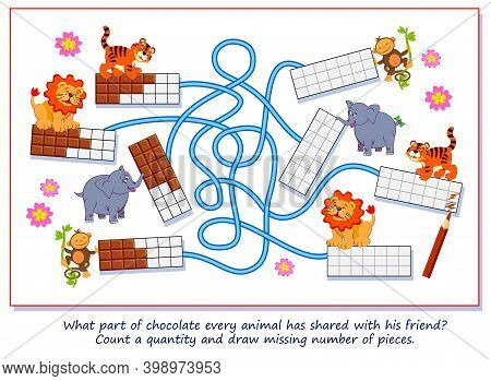 Math Education For Little Children. What Part Of Chocolate Every Animal Has Shared With His Friend?
