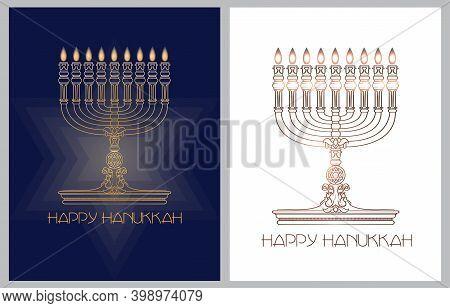 Happy Hanukkah. Jewish Holiday. Menorah And Candles. Vector Banner Template.