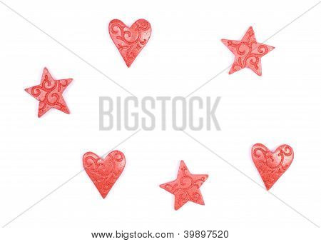 Stars And Hearts Isolated On White