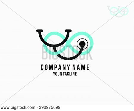 Medical Stethoscope Infinite Logo On White Background In Vector Illustration