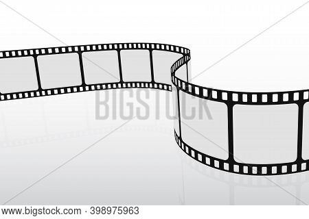 3d Film Strip In Perspective. Cinema Background. Retro Template Poster For Cinema Festival With Plac