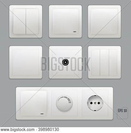 Wall Switch. Power Electrical Socket. Electricity Turn Of And On Plug. Vector Set