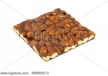 Croccante (traditional Italian Brittle) With Almonds On A White Background