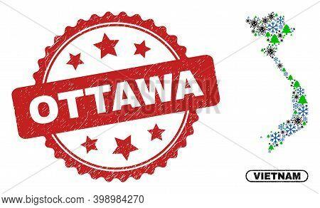 Vector Coronavirus New Year Mosaic Vietnam Map And Ottawa Rubber Seal. Ottawa Stamp Seal Uses Rosett