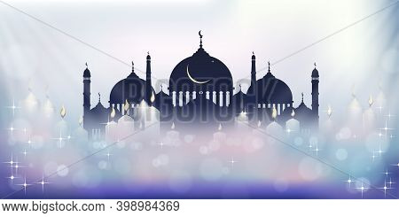 Eid Mubarak Greeting Card With Mosque Silhouette With Candle Light, Stars And Crescent. Ramadan Or R