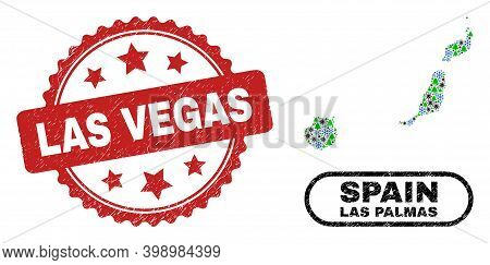 Vector Pandemic Winter Collage Las Palmas Province Map And Las Vegas Scratched Stamp Seal. Las Vegas