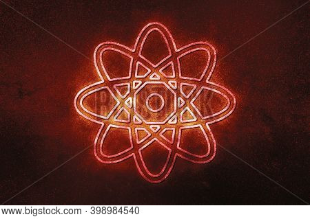 Atom Symbol, Atom Icon, Science,red Symbol, Space Background
