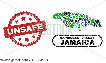 Vector Covid Christmas Collage Jamaica Map And Unsafe Rubber Stamp. Unsafe Seal Uses Rosette Shape A
