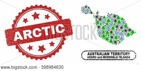 Vector Covid-2019 Christmas Combination Heard And Mcdonald Islands Map And Arctic Textured Stamp Imi